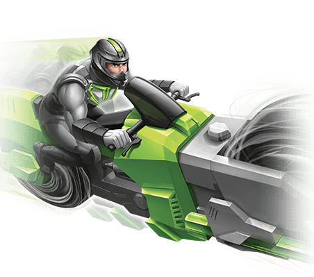 Cyclo-Spin Motorcycle Character Image