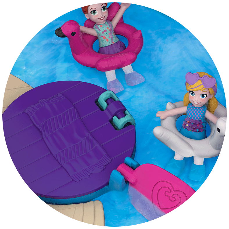 Polly Pocket Pocket World Flamingo Floatie Compact Close Up Product Image