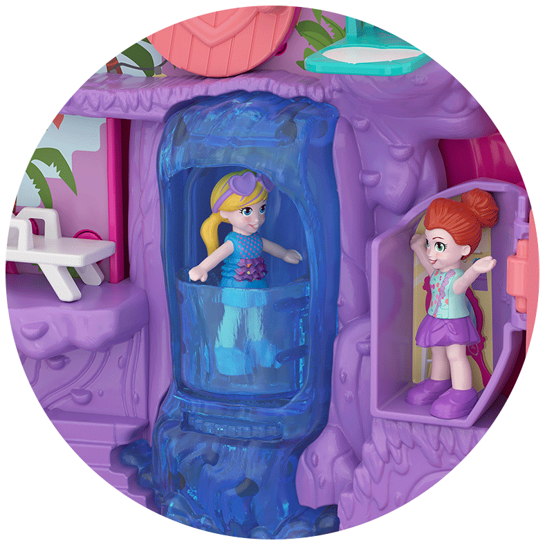 Polly Pocket Pocket World Flamingo Floatie Compact Close Up Product Iamge